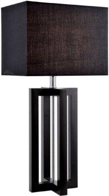 Table Lamp, Black Wood/black Fabric Shade,e27 Cfl 23w