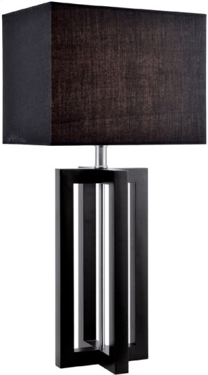 Table Lamp, Black Wood/black Fabric Shade,e27 Cfl 23w