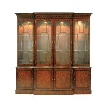 Mahogany Breakfront Lighted China Cabinet, Glass Shelves Light Antique Brass Mounts