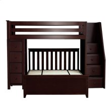 All in One Staircase Loft Bed Storage   Full Bed Espresso