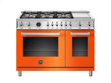 48 inch 6-Burner + Griddle, Electric Self-Clean Double Oven Orange
