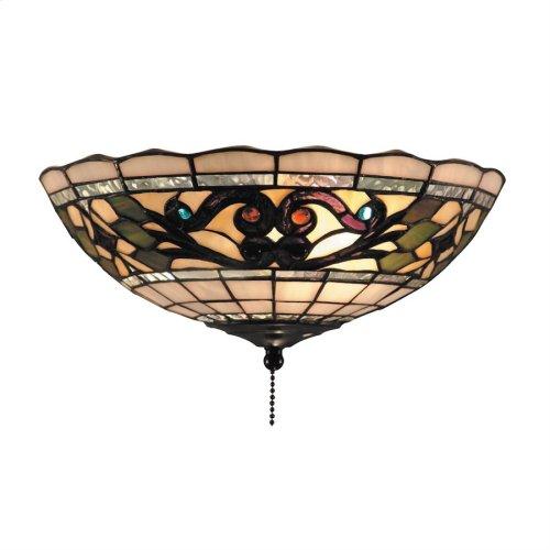Tiffany Buckingham 2-Light Flush Mount Ceiling Light in Vintage Antique