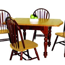 DLU-TDX3472-NLO  Drop Leaf Extendable Dining Table  Nutmeg with Light Oak Finish Top