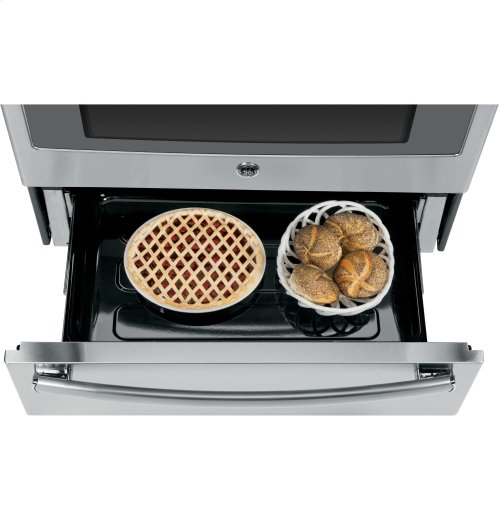 """GE Profile™ Series 30"""" Slide-In Front Control Electric Convection Range with Warming Drawer"""