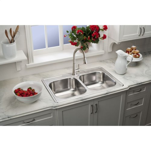 """Dayton Stainless Steel 33"""" x 22"""" x 8-1/16"""", Equal Double Bowl Drop-in Sink"""