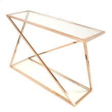 Marcio Console Table with Glass, Rose Gold
