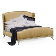 US King Louis XV Country Sage Bed, Upholstered in Muscatelle Silk