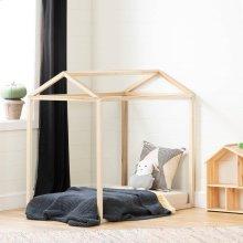 Wooden Bed Frame, Toddler Transitional House Bed - Natural Poplar