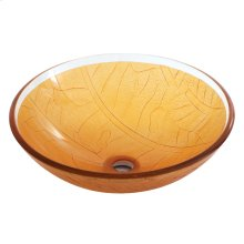 Round amber sculptured tempered glass basin
