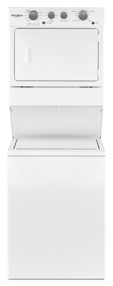 3.5 cu.ft Long Vent Gas Stacked Laundry Center 9 Wash cycles and Wrinkle Shield  WHITE