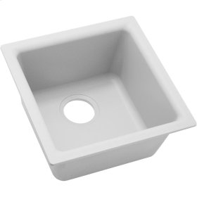 "Elkay Quartz Classic 15-3/4"" x 15-3/4"" x 7-11/16"", Single Bowl Dual Mount Bar Sink, White"
