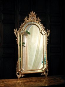 BAROQUE MIRROR WITH MIRRORED B ORDERS FINISHED IN ANTIQUE GOL D METAL LEAF