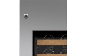 "Integrated Stainless Steel 18"" Wine Storage Door Panel with Tubular Handle and Lock - Right Hinge"
