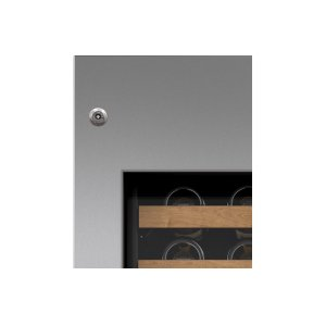 "Integrated Stainless Steel 30"" Wine Storage Door Panel with Tubular Handle and Lock - Left Hinge"