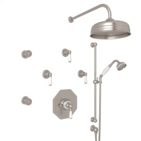 Satin Nickel Edwardian U.KIT37L Thermostatic Shower Package with Metal Lever