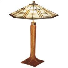 Art Glass Shade, Oak Corbel Base Table Lamp