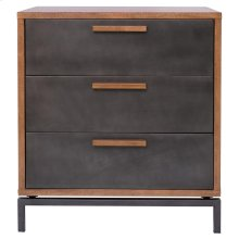 Bellevue KD Chest 3 Drawers Graphite Metal Legs, Graphite/ Natural Mango