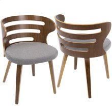 Cosi Chair - Walnut Wood, Grey Fabric