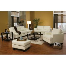 Samuel Transitional White Three-piece Living Room Set