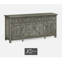Antique Dark Grey Parquet Sideboard with Strap Handles