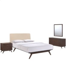 Tracy 4 Piece Queen Upholstered Fabric Wood Bedroom Set in Cappuccino Beige