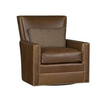 Nicole Leather Swivel Chair, Nicole Ottoman