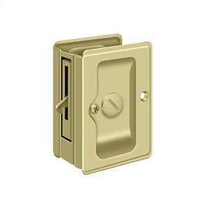 "HD Pocket Lock, Adjustable, 3 1/4""x 2 1/4"" Privacy - Unlacquered Brass"
