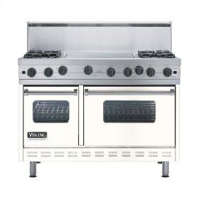 "Cotton White 48"" Open Burner Range - VGIC (48"" wide, four burners 24"" wide griddle/simmer plate)"