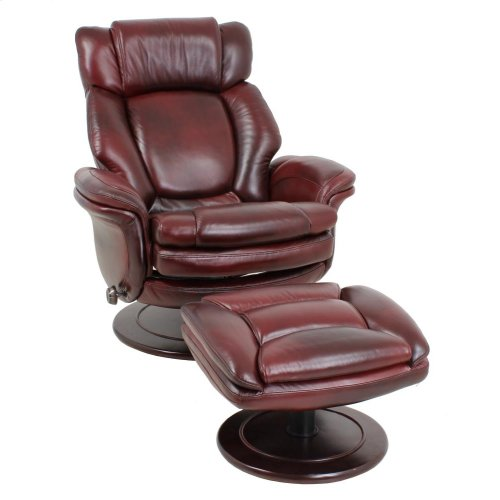 Lumina 15-8000 Pedestal Chair and Ottoman in Traverse-burgundy 3481-25