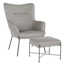 Izzy Lounge Chair + Ottoman Set - Black Metal, Grey Pu