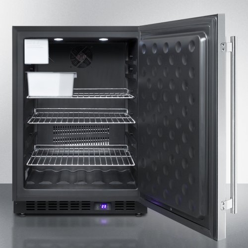 Frost-free Built-in Undercounter All-freezer for Residential Use, With Icemaker, Digital Thermostat, Stainless Steel Door, Lock, and Black Cabinet