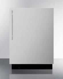 Built-in Refrigerator-freezer With Manual Defrost, White Cabinet, and Stainless Steel Door