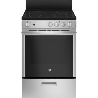 "GE 24"" Electric Freestanding Range with Removable Storage Drawer Stainless Steel - JCAS640RMSS"