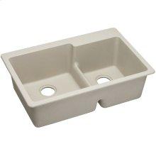"Elkay Quartz Classic 33"" x 22"" x 9-1/2"", Offset 60/40 Double Bowl Drop-in Sink with Aqua Divide, Bisque"