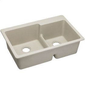 "Elkay Quartz Classic 33"" x 22"" x 9-1/2"", Offset 60/40 Double Bowl Top Mount Sink with Aqua Divide, Bisque"