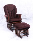 Sleigh Back Cherry finish solid birch glider with padded arms Product Image