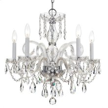 Traditional Crystal 5 Light Swarovski Strass Crystal Chrome Chandelier