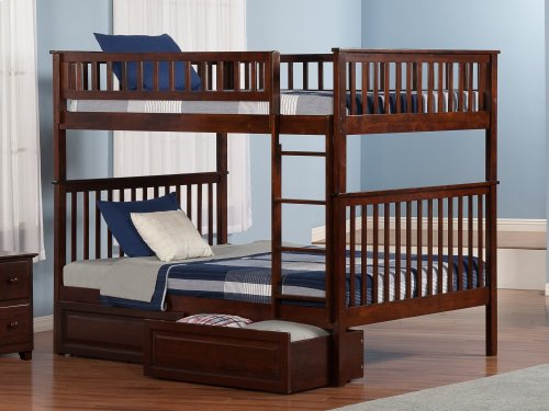 Woodland Bunk Bed Full over Full with Raised Panel Bed Drawers in Walnut