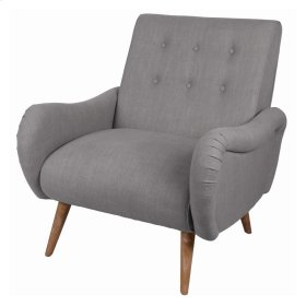 Joanne KD Fabric Tufted Arm Chair Brushed Smoke Legs, Gunmetal