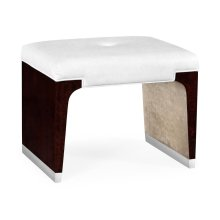 Black Eucalyptus Dressing Stool, Upholstered in COM