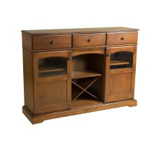 Maple Traditional Credenza With 2 Doors With Glass Windows, 3 Drawers Open Center With Removable Wine Rack Antique Black Knobs, 1 Fixed Center Shelf and 4 Adjustable Shelves
