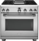 """GE Monogram® 36"""" All Gas Professional Range with 4 Burners and Griddle (Liquid Propane) Product Image"""
