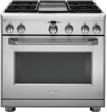 """GE Monogram® 36"""" All Gas Professional Range with 4 Burners and Griddle (Liquid Propane)"""