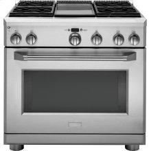 """Monogram 36"""" All Gas Professional Range with 4 Burners and Griddle (Liquid Propane)"""