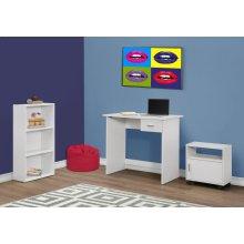 COMPUTER DESK - 3PCS SET / WHITE DESK / BOOKCASE / CART