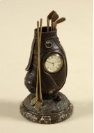 Small Table Top Clock, Cast Brass Verdigris Finished Golf Bag, Dark Snakeskin Stone Base Product Image