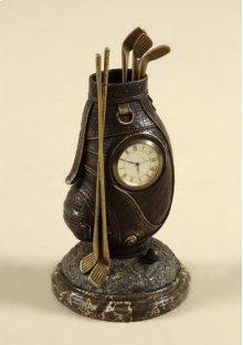 Small Table Top Clock, Cast Brass Verdigris Finished Golf Bag, Dark Snakeskin Stone Base