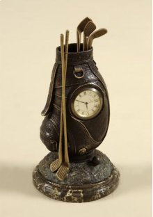Small Table Top Clock, Cast Brass Verdigris Finished Golf Bag, Dark Snakeskin Stone Base