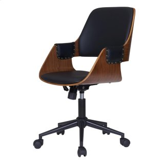 Warren KD PU Office Chair, Black/Walnut *NEW*