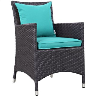 Convene Dining Outdoor Patio Armchair in Espresso Turquoise